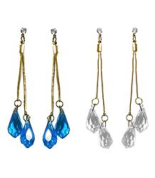 Set of 2 Pairs Cyan and White Crystal Drop Earrings
