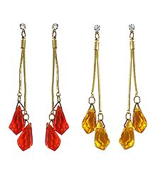 Set of 2 Pairs Saffron and Yellow Crystal Drop Earrings