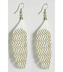 White with Golden Painted Feather Earrings