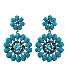 Blue Stone Studded Flower Earrings