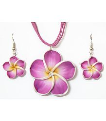 Magenta Flower Pendant in Thread Cord with Earrings