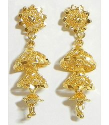 Gold Plated Metal Umbrella Earrings