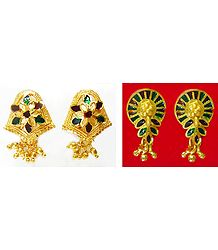 Set of 2 Pairs Red and Green Laquered Gold Plated Stud Earrings