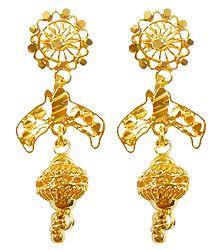 Gold Plated Metal Dangle Earrings