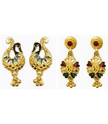 2 Pairs of Gold Plated Peacock Stud and Dangle Earrings