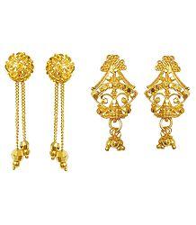 Gold Plated Metal Earrings - Online Shop