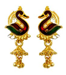 Green with Red Laquered Gold Plated Metal Earrings
