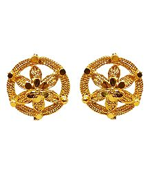 Gold Plated Metal Stud Earrings