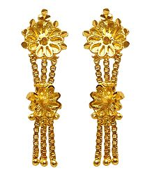 Gold Plated Metal Dangle Earrings