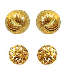 Set of 2 Gold Plated Metal Stud Earrings
