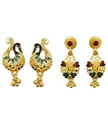 Set of 2 Pairs Gold Plated Peacock Stud and Dangle Earrings