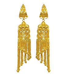 Pair of Gold plated Jhalar Earrings