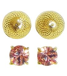 Gold Plated and Stone Studded Stud Earrings