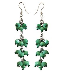 Green Bead Cluster Earrings