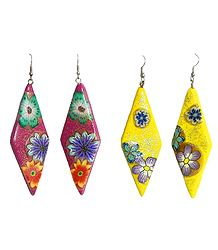 Set of 2 Pairs Red and Yellow Painted Rubber Glitter Earrings