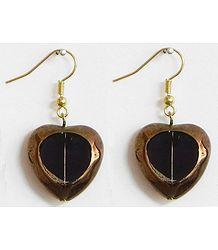 Oxidised Metal Earrings with Black Stone