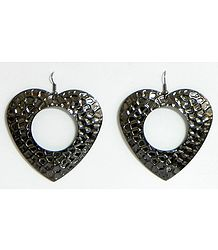 Dark Brown Metal Heart Earrings