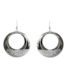 White Metal Hoop Earrings