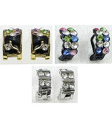 Set of 3 Pairs Multicolor Stone Setting Small Ring Earrings