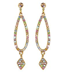 Buy Online Multicolor Stone Studded Dangle Earrings