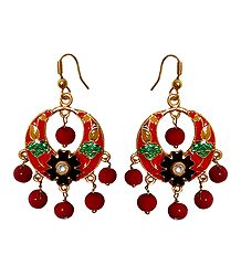 Red, Green, Black Meenakari Metal Hoop Earrings