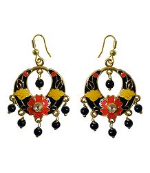 Black with Multicolor Meenakari Metal Hoop Earrings
