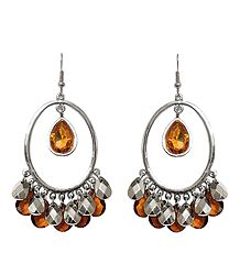 Hoop Earrings with Rust Stone Jhalar