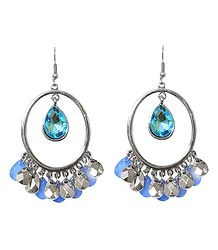 Hoop Earrings with Blue Stone Jhalar