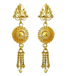 Gold Plated Metal Jhalar Earrings
