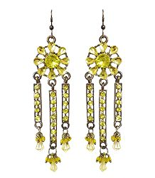 Yellow Stone Studded Oxidised Metal Jhalar Earrings