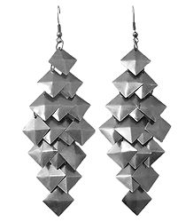 Pair of Square Cluster Metal Earrings