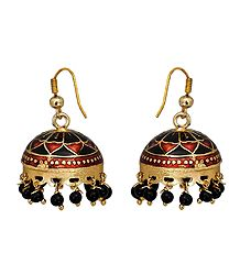 Meenakari Metal Jhumka Earrings