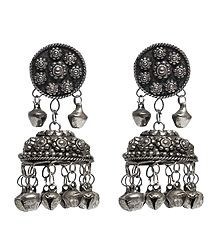 Oxidised White Metal Jhumka Earrings