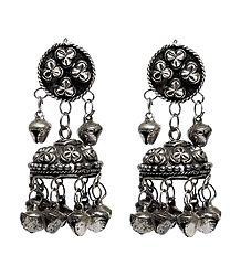 Oxidised Metal Jhumka Earrings