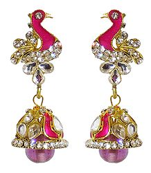 Pink Laquered Peacock with Kundan Jhumka Earrings