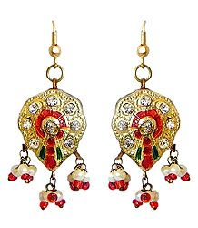 Golden with Red Meenakari Lac Earrings