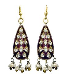 Stone Studded Teardrop Lac Earrings