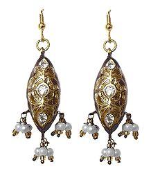 Maroon Meenakari Lac Earrings