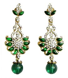 Cubic Zirconia Post Earrings with Green Enamelled Paisley Design