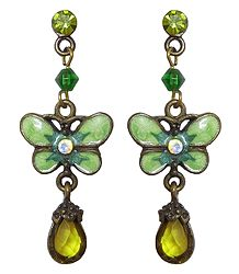 Green Stone Studded Butterfly Dangle Earrings