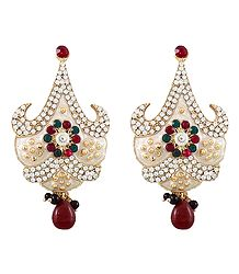 Multicolor Stone Studded White Laquered Post Earrings
