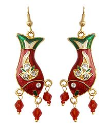 White Stone Studded Metal Meenakari Fish Earrings