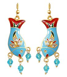 Stone Studded Metal Meenakari Fish Earrings
