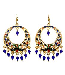 Meenakari Peacock Hoop Earrings