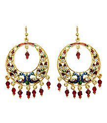 Red with Dark Blue Meenakari Peacock Metal Hoop Earrings