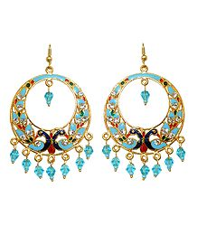Light Cyan with Dark Blue Meenakari Peacock Metal Hoop Earrings