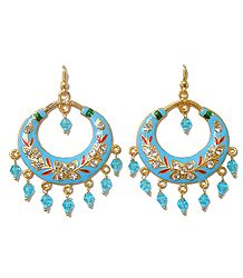 Cyan Blue Meenakari Metal Hoop Earrings