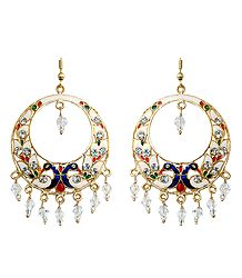 White with Golden and Red Meenakari Peacock Metal Hoop Earrings