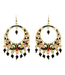 Golden with Black and Green Meenakari Peacock Metal Hoop Earrings