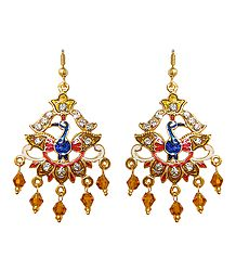 Golden with Red Meenakari Peacock Metal Earrings